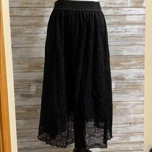 LuLaRoe black lace Lola skirt